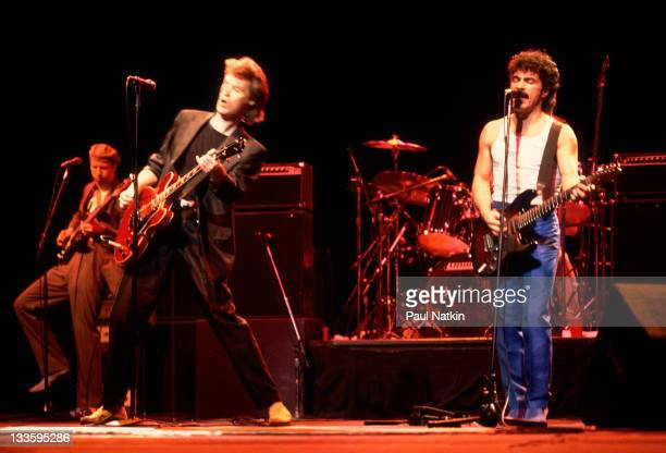 American musicians Darryl Hall and John Oates perform at the Chicago Stadium Chicago Illinois November 5 1981