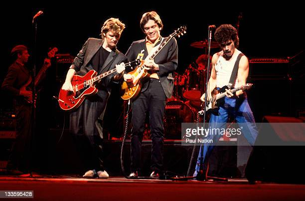 American musicians Darryl Hall GE Smith and John Oates perform as Hall Oates at the Chicago Stadium Chicago Illinois November 5 1981