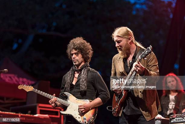 American musicians Doyle Bramhall II and Derek Trucks both on guitar perform with the Tedeschi Trucks Band on opening night of the 30th Anniversary...