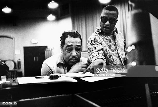 American musicians Duke Ellington and Billy Strayhorn . Undated photograph.
