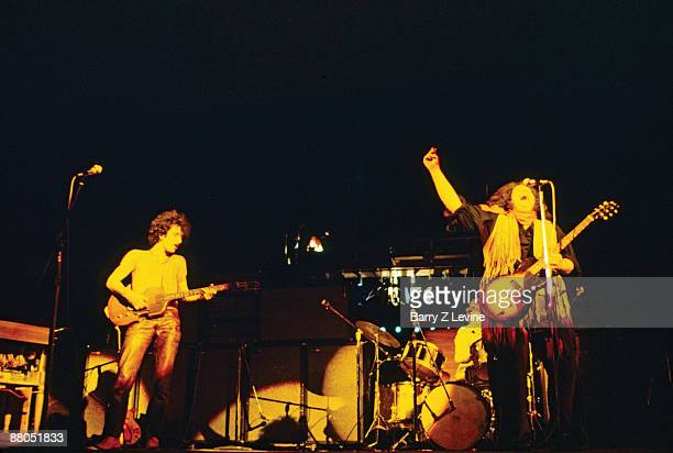 American musicians Felix Pappalardi and Leslie West of the group Mountain perform onstage at the Woodstock Music and Arts Fair in Bethel New York...