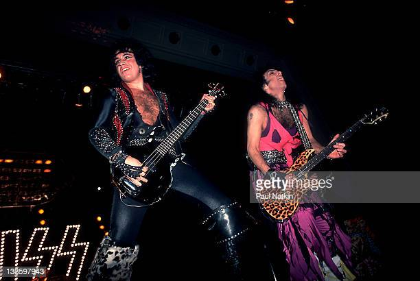 American musicians Gene Simmons and Paul Stanley of the group Kiss performs at the Mecca Arena Milwaukee Wisconsin December 30 1984