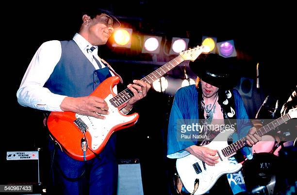 American musicians Hubert Sumlin and Stevie Ray Vaughn plays guitars onstage at the Fireside Bowl Chicago Illinois February 17 1984