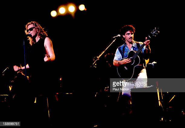 American musicians John Oates and Darryl Hall perform at the Harborfront Pavillion Baltimore Maryland July 20 1991