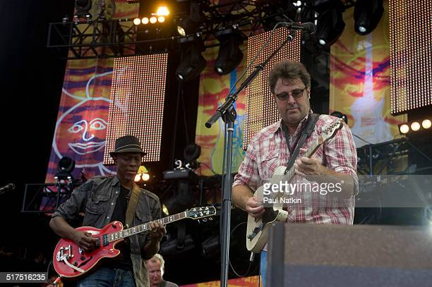 American musicians Keb' Mo' and Vince Gill perform onstage at Eric Clapton's Crossroads Guitar Festival at Toyota Park Bridgeview Illinois June 26...