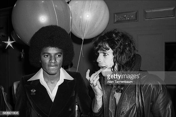 American musicians Michael Jackson, of the Jackson 5, and Steve Tyler, of the group Aerosmith, attend a Beatlemania party at Studio 54, New York, New...