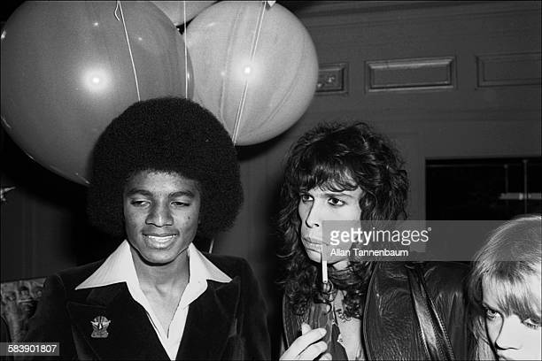 American musicians Michael Jackson of the Jackson 5 and Steve Tyler of the group Aerosmith attend a Beatlemania party at Studio 54 New York New York...
