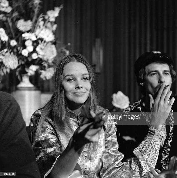 American musicians Michelle and John Phillips husband and wife of the American folk pop group The Mamas And The Papas October 5 1967