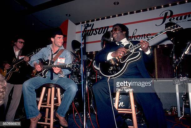 American musicians Neal Schon of the band Journey and BB King plays guitar together during a performance at the 1983 Winter NAMM Show at the Aire...