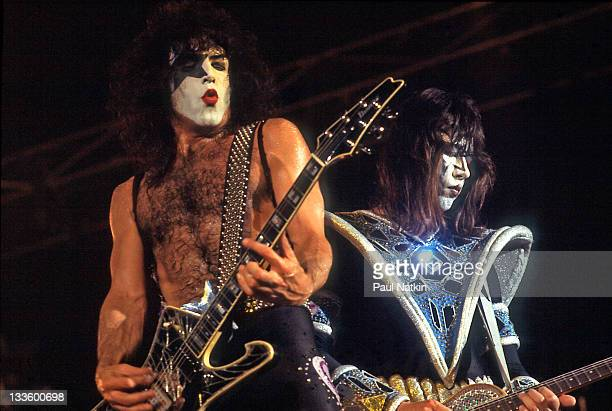American musicians Paul Stanley and Ave Frehley of the group Kiss perform at the International Ampitheater Chicago Illinois September 22 1979