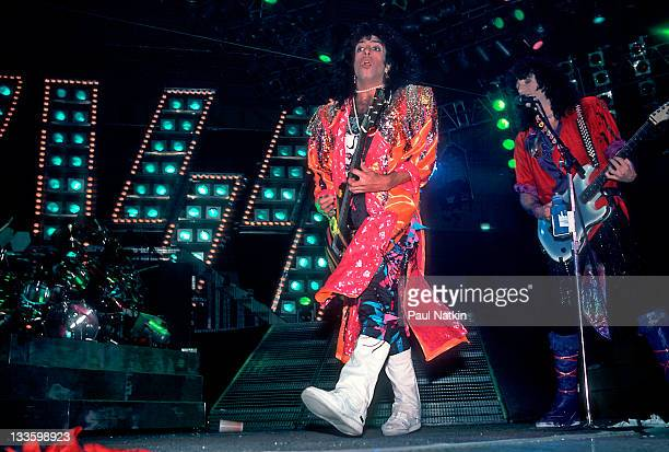 American musicians Paul Stanley and Bruce Kulick of the group Kiss perform at the UIC Pavillion Chicago Illinois January 10 1986
