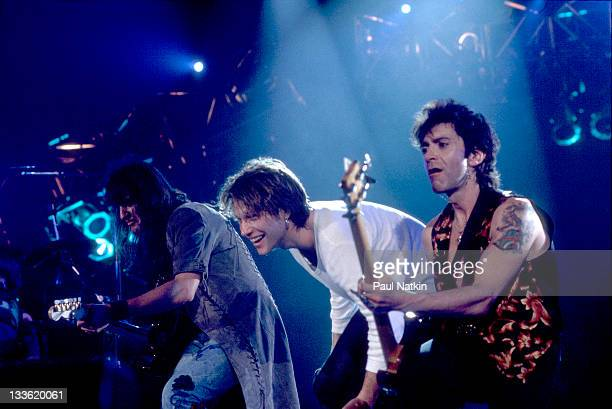 American musicians Richie Sambora Jon Bon Jovi and Alec John Such of the rock band Bon Jovi perform at the Rosemont Horizon Rosemont Illinois March...