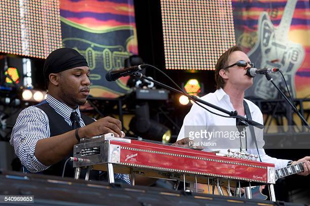 American musicians Robert Randolph and Joe Bonamassa perform onstage at Eric Clapton's Crossroads Guitar Festival at Toyota Park Bridgeview Illinois...