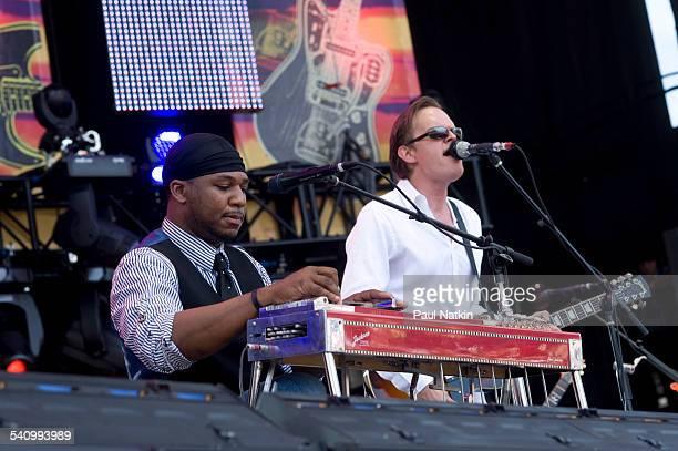 American musicians Robert Randolph and Joe Bonamassa perform onstage at Eric Clapton's Crossroads Guitar Festival at Toyota Park Bridgeview Illinois...