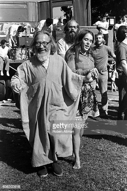 American mystic and horticultural Samuel L Lewis Sufi Sam dervish dances circa September 1969 at Precita Park in San Francisco California