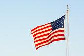 american national flag flitting wind blue