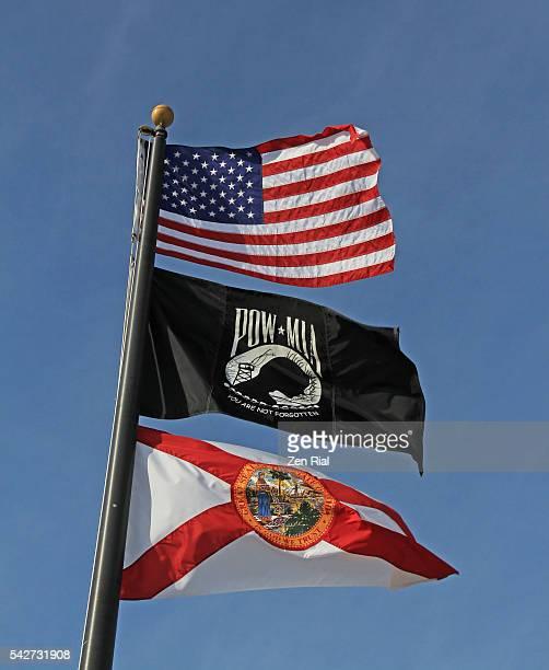 American National flag, POW MIA flag and Florida State flag