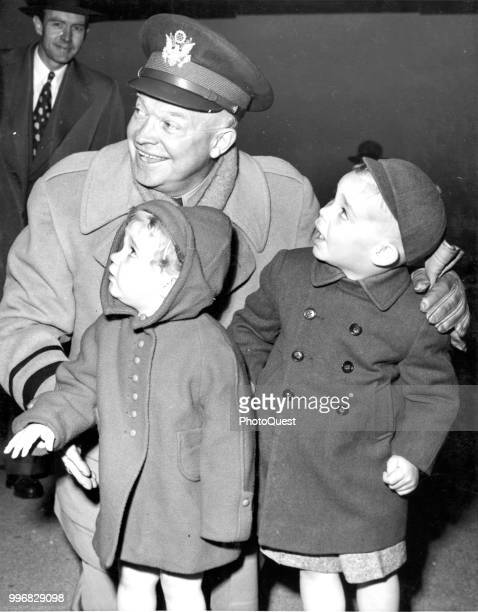 American NATO Supreme Commander General Dwight D Eisenhower poses with his grandchildren Barbara Anne Eisenhower and Dwight David Eisenhower II at...