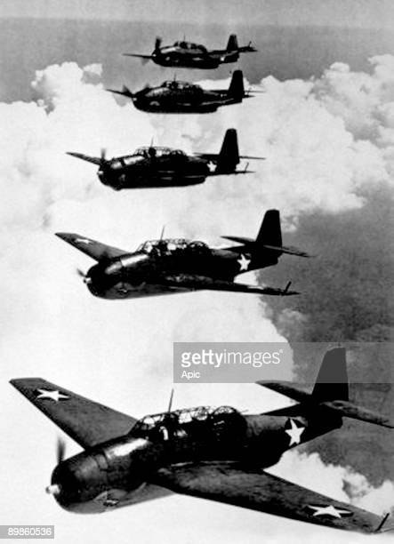 American Navy Avenger planes torpedobombers that have helped in the Pacific c 1943