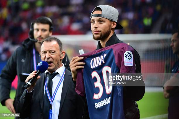 American NBA basketball star Stephen Curry before the Ligue 1 match between Paris Saint Germain and AS Saint Etienne at Parc des Princes on August 25...
