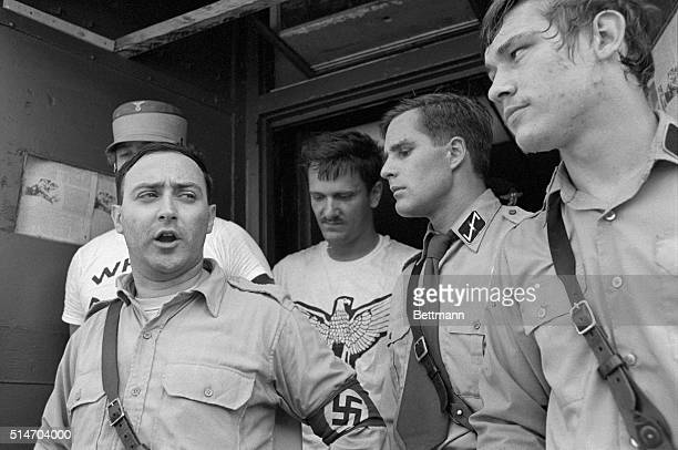 American NeoNazi leader Frank Collin comments on a court order preventing his group from staging a march in Skokie Illinois which has a large Jewish...