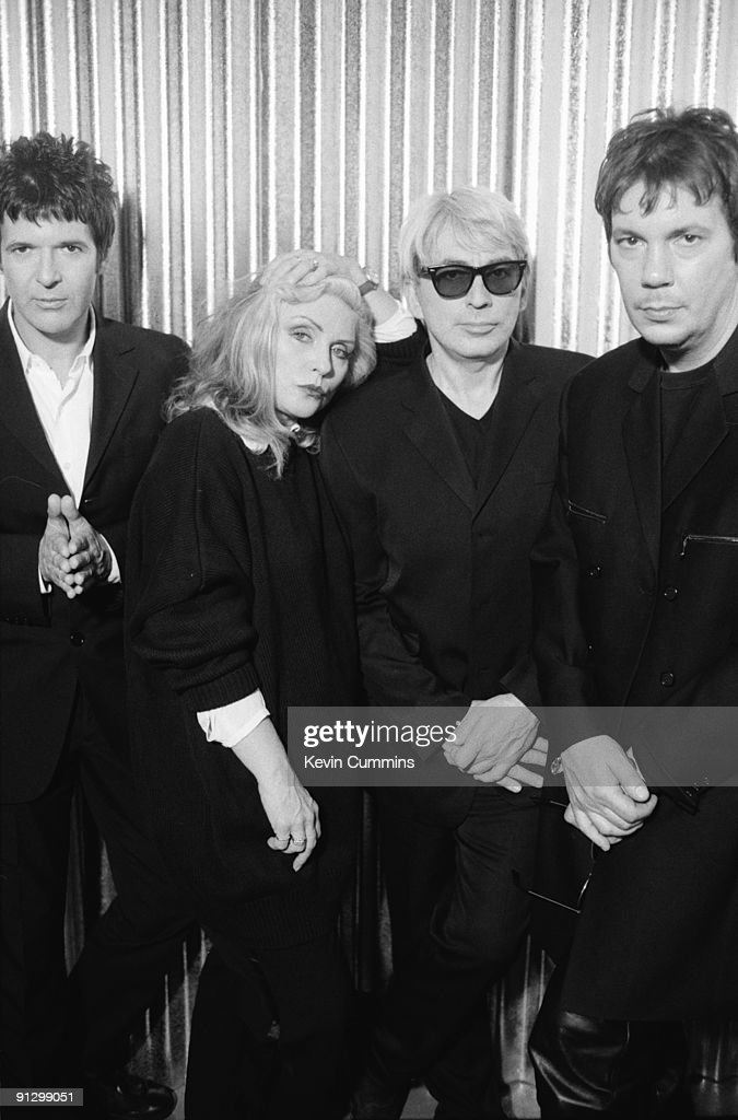 American new wave band Blondie, circa 1995. From left to right, they are drummer Clem Burke, singer Debbie Harry, guitarist Chris Stein and keyboard player Jimmy Destri.