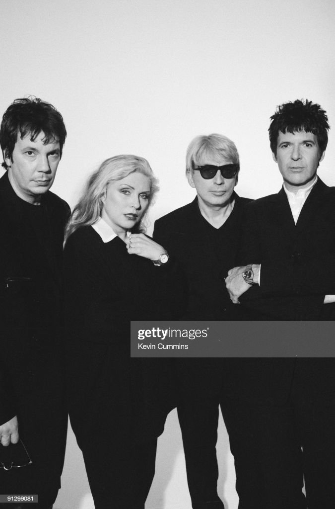 American new wave band Blondie, circa 1995. From left to right, they are keyboard player Jimmy Destri, singer Debbie Harry, guitarist Chris Stein and drummer Clem Burke.