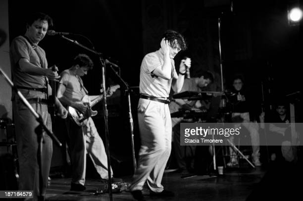 American New Wave band Devo perform on stage at Cabaret Metro in Chicago Illinois USA on 4th November 1988 Left to right Gerald Casale Bob...
