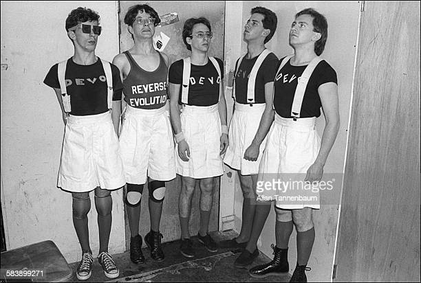 American New Wave group Devo backstage at Max's Kansas City New York New York November 15 1977