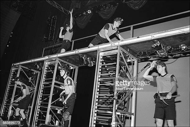 American New Wave group Devo perform at Radio City Music Hall New York New York October 31 1981
