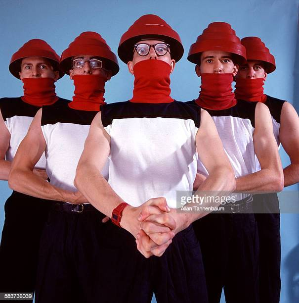 American New Wave group Devo pose in a studio New York New York October 22 1981 The photo was taken as part of a fashion layout for the SoHo News