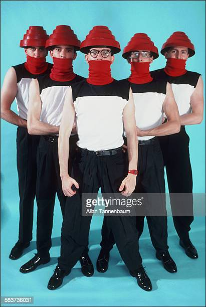 American New Wave music group Devo pose in the studio New York New York October 22 1981 The photo was taken for a fashion feature in the SoHo Weekly...