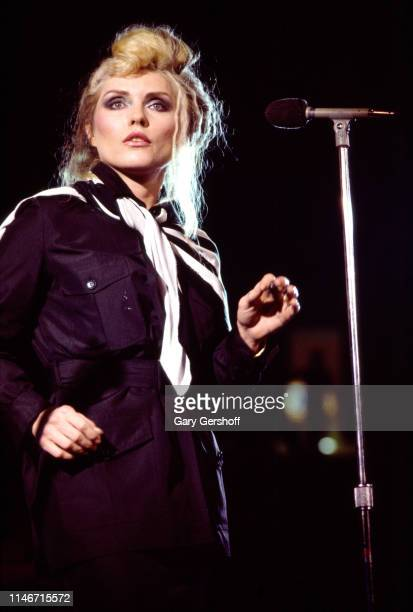 American New Wave musician Debbie Harry of the group Blondie performs onstage at Byrne Arena East Rutherford New Jersey August 14 1982