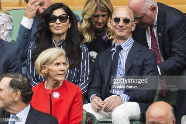 American news anchor Lauren Sanchez and Amazoncom CEO Jeff Bezos watch the centre court mens singles finals of the Wimbledon Tennis Championships...