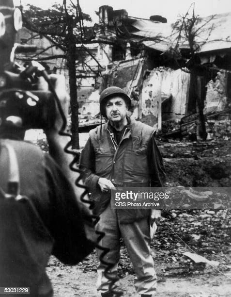 American news broadcaster and CBS anchor Walter Cronkite reports from the site of extensive bombing as he covers the aftermath of the Tet offensive...