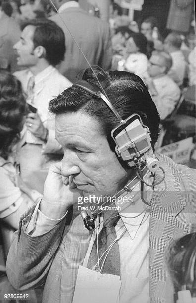 American news correspondent Mike Wallace of CBS News reports from the 1972 Democratic National Convention Miami Beach Florida July 11 1972