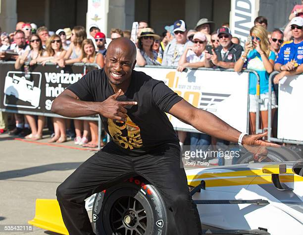 American Ninja Warrior TV host Akbar Gbajabiamila attends the 100th running of the Indianapolis 500 at Indianapolis Motorspeedway on May 29 2016 in...