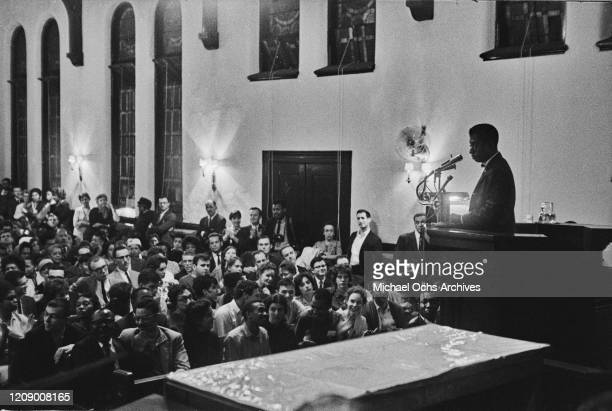American novelist and activist James Baldwin addresses an audience in a church USA October 1963