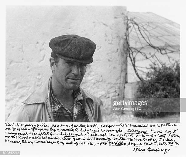 American novelist and poet Jack Kerouac in Villa Muneria in Tangier Morocco late 1957 The handwritten text at the bottom of the image is by Allen...