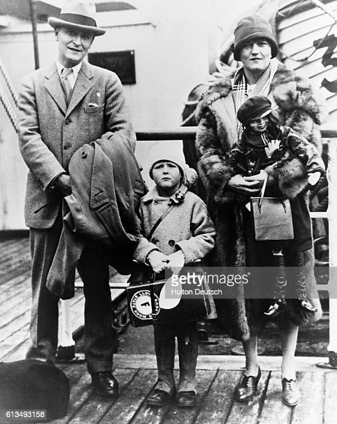 American novelist and short story writer Francis Scott Fitzgerald , with wife Zelda and daughter Scottie, mid 1920s. He captured the lifestyle of the...
