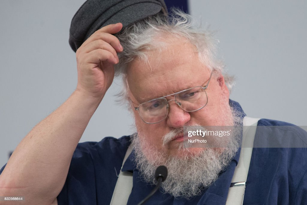 Writer And Screenwriter George R. R. Martin At Press Conference In St. Petersburg : News Photo