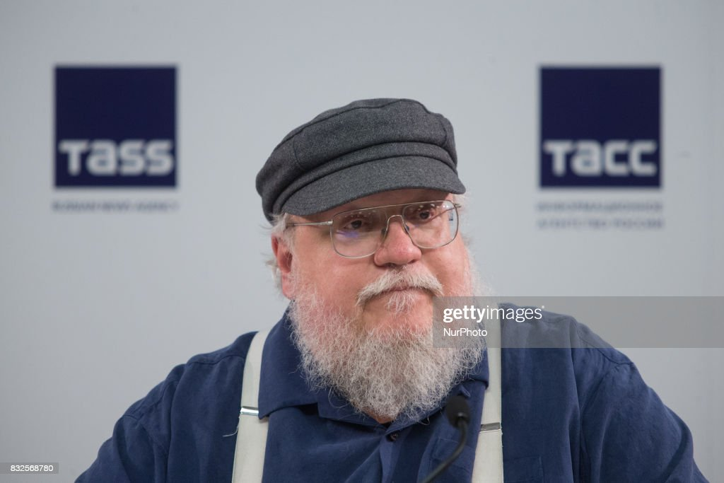 American novelist and short-story writer, screenwriter, and television producer George R. R. Martin attends a press conference on August 16, 2017 in Saint Petersburg, Russia.