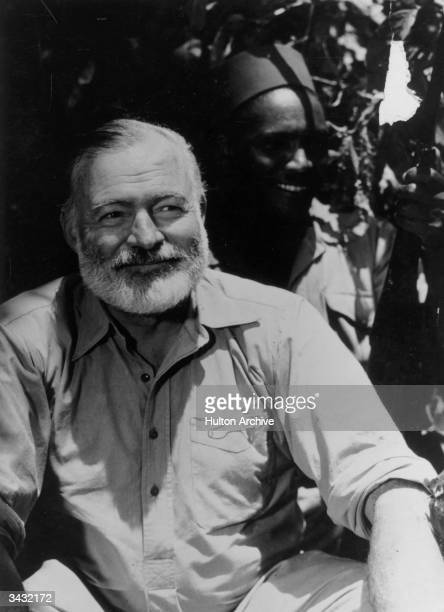 American novelist Ernest Hemingway on safari in Africa.
