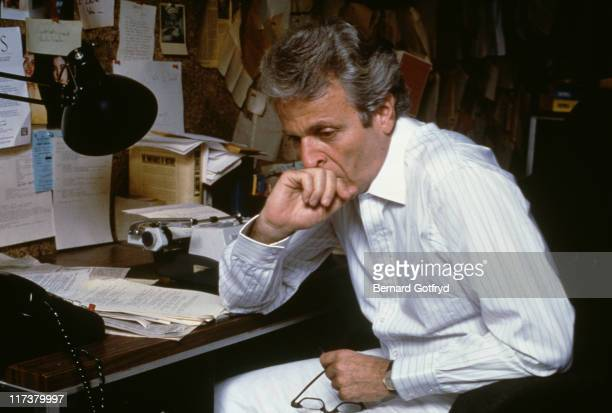 American novelist playwright and screenwriter William Goldman at his desk 1987