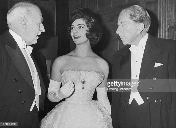 American oil tycoon J Paul Getty hosts a party at Sutton Place his Surrey home 1st July 1960 With him are guests Ian Constable Maxwell and his...
