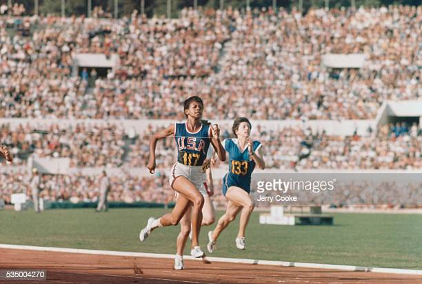 Wilma rudolph stock photos and pictures getty images american olympic sprinter wilma rudolph in the final steps of a race at the 1960 summer voltagebd Gallery