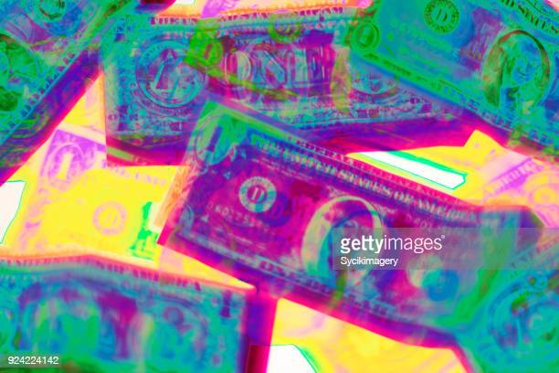 American one dollar bills, holographic effect