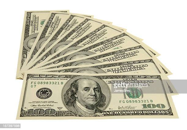 American One Hundred Dollar Bills Fanned, White Background, Clipping Path