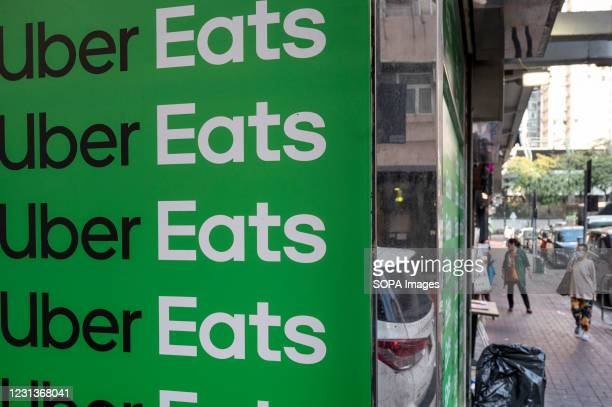 American online food ordering and delivery platform launched by Uber, Uber Eats sign, seen in Hong Kong.