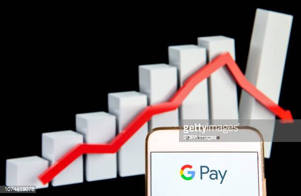 American online payment platform owned by Google Google Pay logo is seen on an Android mobile device with a decline loses graph in the background
